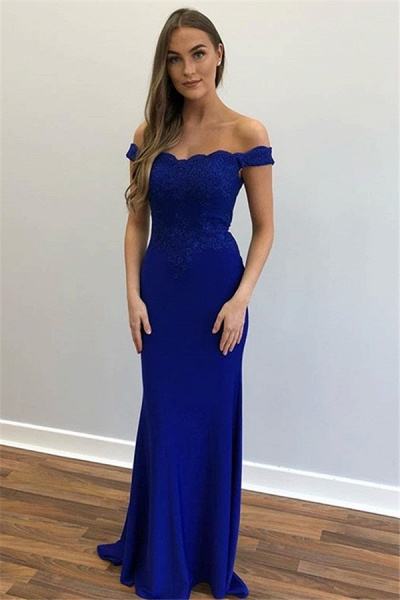 Beautiful Off-the-shoulder Appliques Mermaid Prom Dress_3