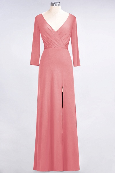 A-Line Spandex V-Neck Long-Sleeves Side-Slit Floor-Length Bridesmaid Dress with Ruffles_6