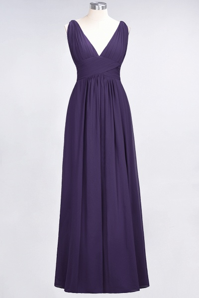 A-Line Chiffon V-Neck Sleeveless Floor-Length Bridesmaid Dress with Ruffle_18