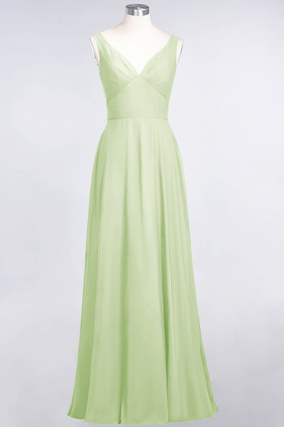 A-Line Chiffon V-Neck Straps Sleeveless Ruffles Floor-Length Bridesmaid Dress with Open Back_33