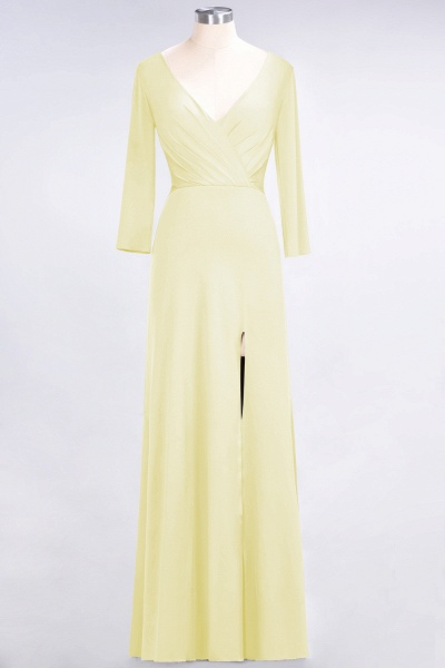 A-Line Spandex V-Neck Long-Sleeves Side-Slit Floor-Length Bridesmaid Dress with Ruffles_16
