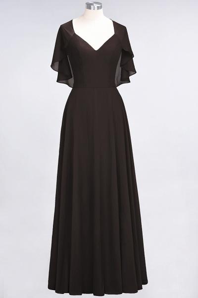 A-Line Chiffon Satin V-Neck short-sleeves Floor-Length Bridesmaid Dress_11