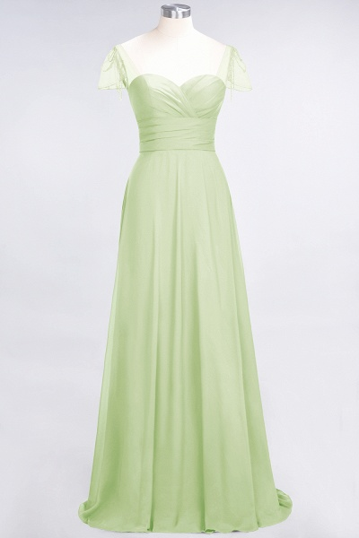 A-Line Chiffon Sweetheart Cap-Sleeves Ruffle Floor-Length Bridesmaid Dress with Beadings_33