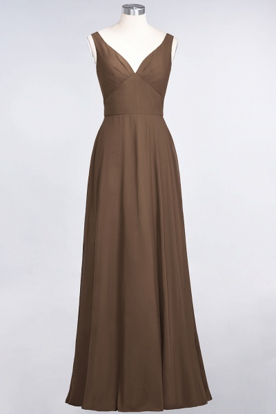 A-Line Chiffon V-Neck Straps Sleeveless Ruffles Floor-Length Bridesmaid Dress with Open Back_12