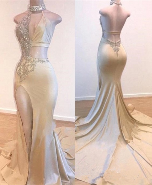 Eye-catching Halter Split Front Mermaid Prom Dress_1