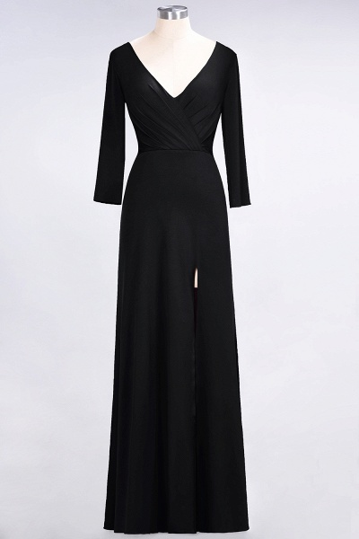 A-Line Spandex V-Neck Long-Sleeves Side-Slit Floor-Length Bridesmaid Dress with Ruffles_25