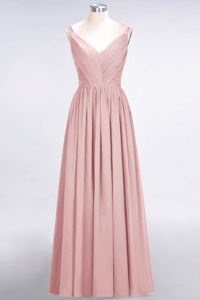 A-Line Chiffon Straps V-Neck Sleeveless Backless Floor-Length Bridesmaid Dress with Ruffles_6