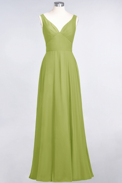 A-Line Chiffon V-Neck Straps Sleeveless Ruffles Floor-Length Bridesmaid Dress with Open Back_32