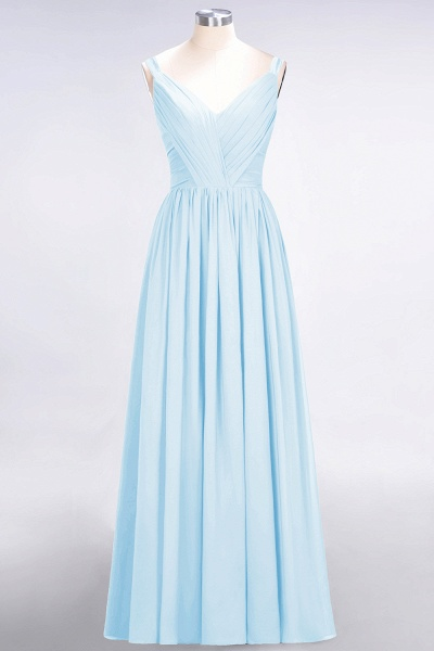A-Line Chiffon Straps V-Neck Sleeveless Backless Floor-Length Bridesmaid Dress with Ruffles_22