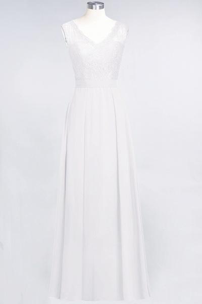 A-Line Chiffon Lace V-Neck Sleeveless Floor-Length Bridesmaid Dress_1