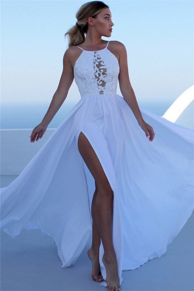 Fascinating Halter Split Front A-line Prom Dress_1