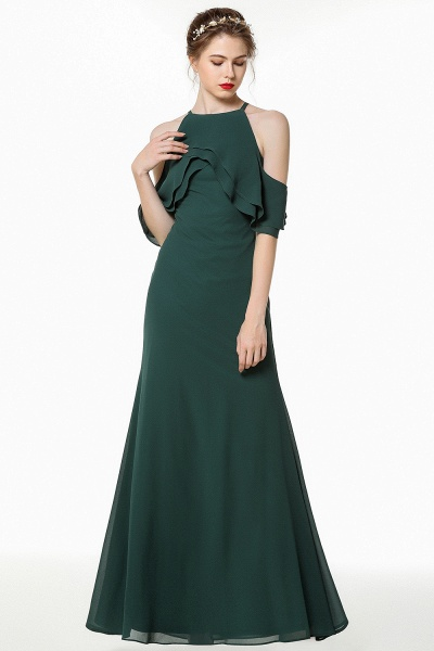 BM0825 Gorgeous Straps Dark Green Floor Length Bridesmaid Dress_5