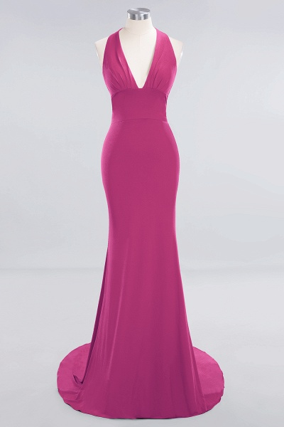 BM0670 Elegant Mermaid Halter Pool V-neck Bridesmaid Dress_8