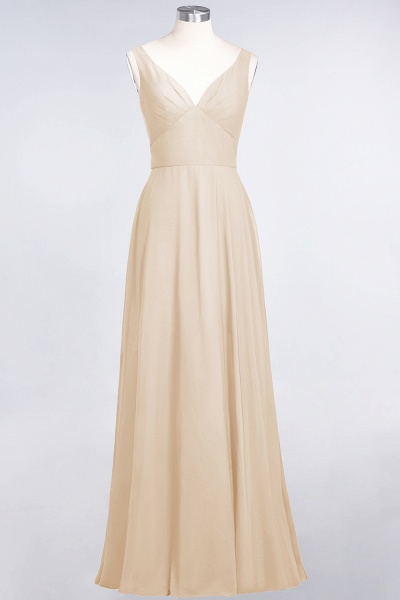A-Line Chiffon V-Neck Straps Sleeveless Ruffles Floor-Length Bridesmaid Dress with Open Back_14