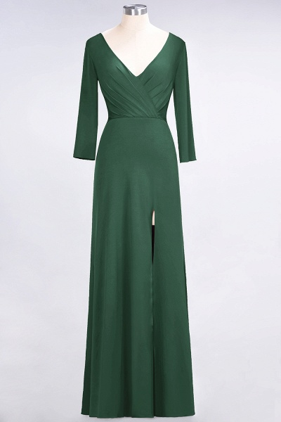 A-Line Spandex V-Neck Long-Sleeves Side-Slit Floor-Length Bridesmaid Dress with Ruffles_27
