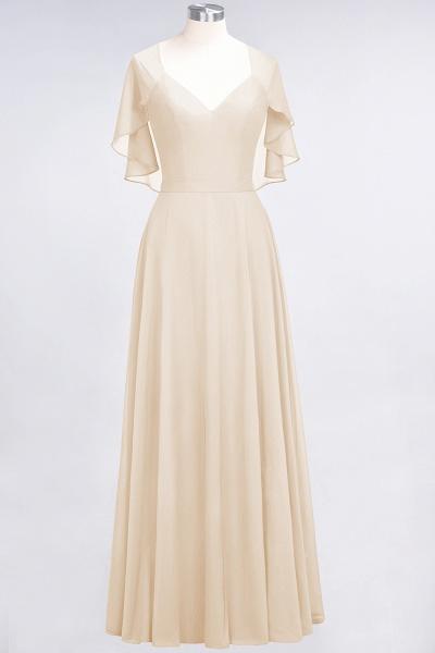 A-Line Chiffon Satin V-Neck short-sleeves Floor-Length Bridesmaid Dress_14