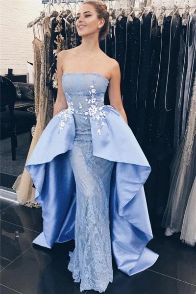 Latest Strapless Lace Mermaid Prom Dress_1