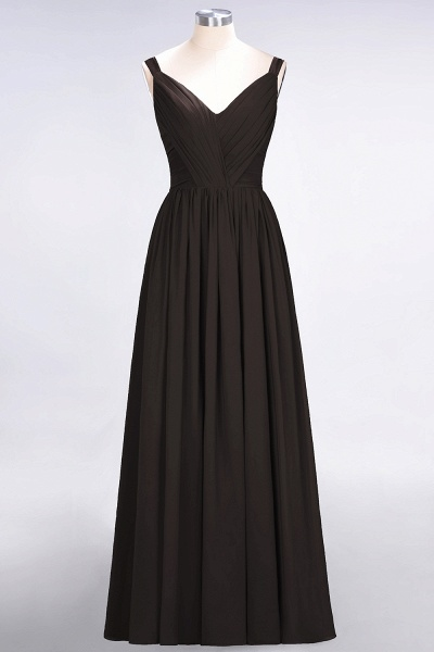A-Line Chiffon Straps V-Neck Sleeveless Backless Floor-Length Bridesmaid Dress with Ruffles_11
