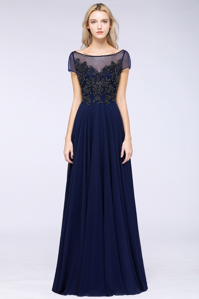 BM0763 Elegant A-Line Short Sleeves Appliques Beads Bridesmaid Dress_1