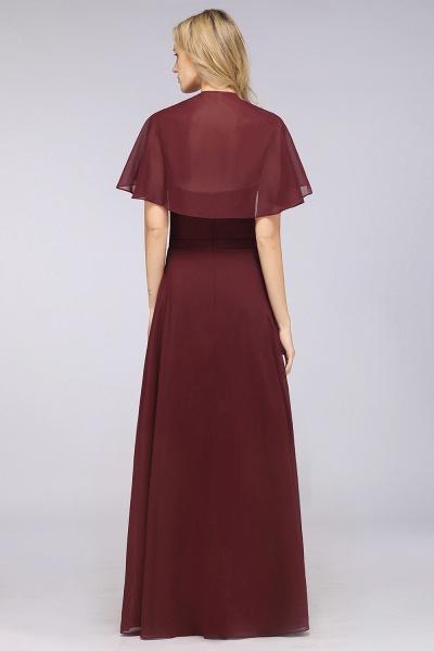 A-Line Chiffon Satin V-Neck short-sleeves Floor-Length Bridesmaid Dress_36