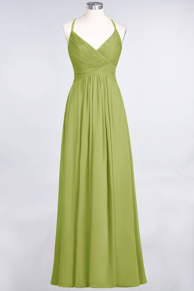 A-Line Chiffon Spaghetti-Straps V-Neck Sleeveless Floor-Length Bridesmaid Dress with Ruffles_32