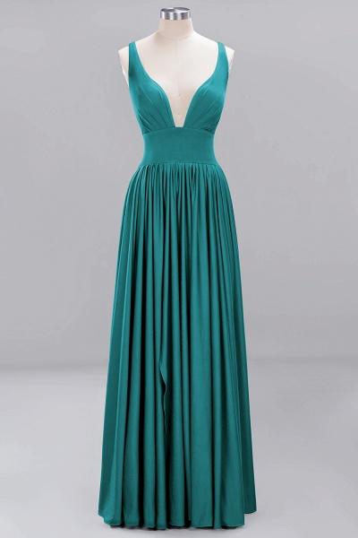 BM0141 A-Line V-Neck Sleeveless Long Ruffles Bridesmaid Dress_28