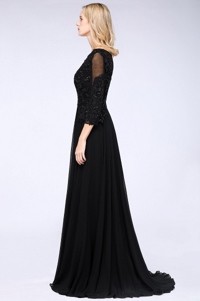 BM0764 Black 3/4 Sleeves Beads A-Line Appliques Bridesmaid Dress_4