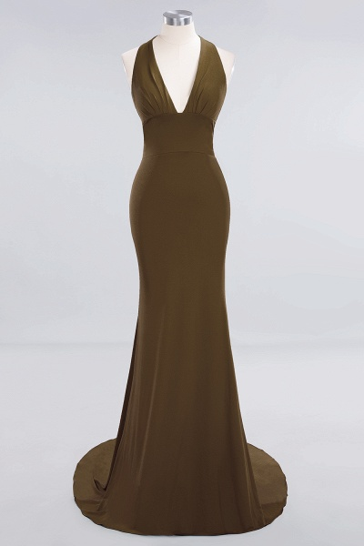BM0670 Elegant Mermaid Halter Pool V-neck Bridesmaid Dress_11