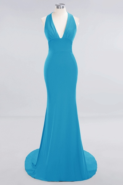 BM0670 Elegant Mermaid Halter Pool V-neck Bridesmaid Dress_22