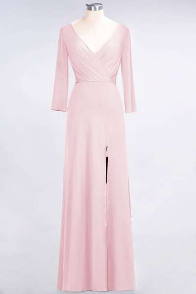 A-Line Spandex V-Neck Long-Sleeves Side-Slit Floor-Length Bridesmaid Dress with Ruffles_3