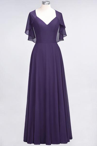 A-Line Chiffon Satin V-Neck short-sleeves Floor-Length Bridesmaid Dress_18