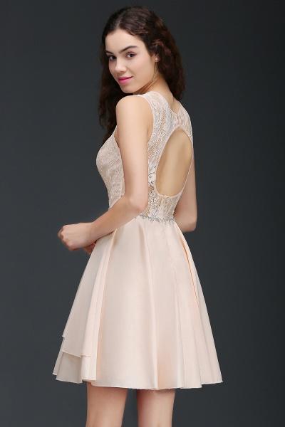 BM0822 Simple Short Pink Lace Beads Open Back Bridesmaid Dresses_2