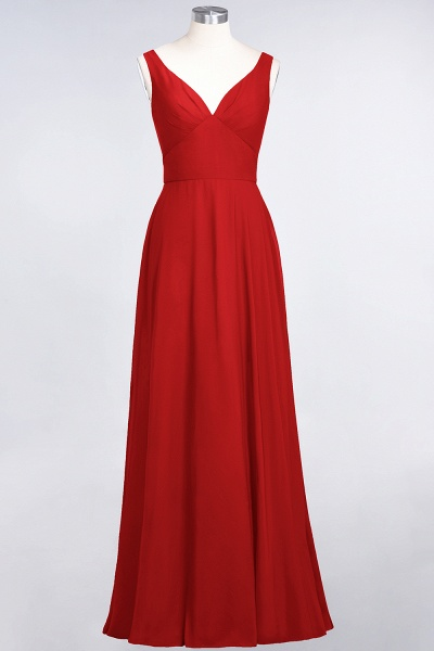 A-Line Chiffon V-Neck Straps Sleeveless Ruffles Floor-Length Bridesmaid Dress with Open Back_8
