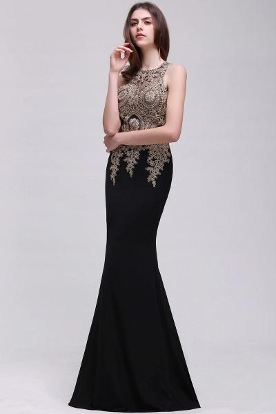 BM0121 Straps Black Mermaid Appliques Sleeveless Bridesmaid Dresses_3