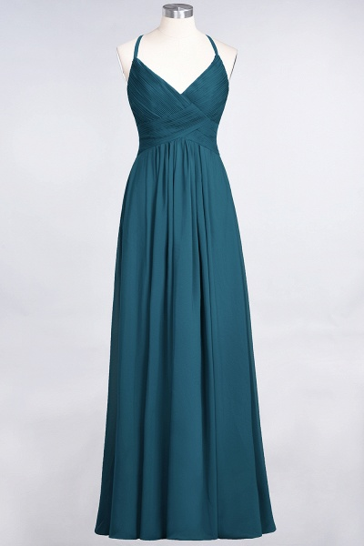 A-Line Chiffon Spaghetti-Straps V-Neck Sleeveless Floor-Length Bridesmaid Dress with Ruffles_26