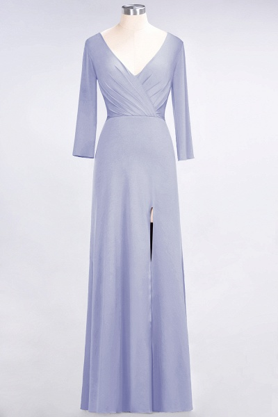 A-Line Spandex V-Neck Long-Sleeves Side-Slit Floor-Length Bridesmaid Dress with Ruffles_19