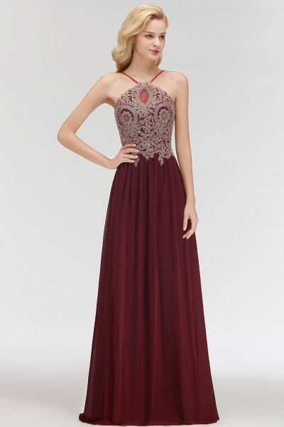 A-Line Chiffon Spaghetti-Straps Sleeveless Backless Floor-Length Bridesmaid Dress with Appliques_3