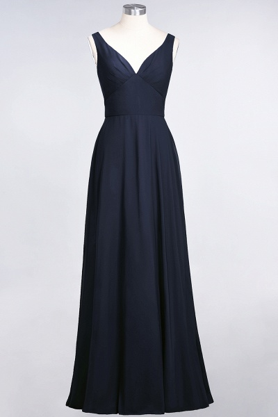 A-Line Chiffon V-Neck Straps Sleeveless Ruffles Floor-Length Bridesmaid Dress with Open Back_27