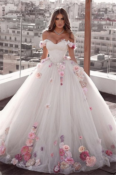 Glamorous Off The Shoulder Flower Ball Gown Wedding Dress