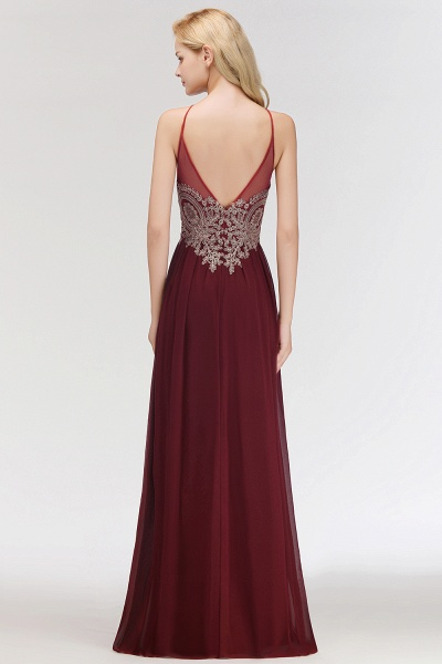 A-Line Chiffon Spaghetti-Straps Sleeveless Backless Floor-Length Bridesmaid Dress with Appliques_2