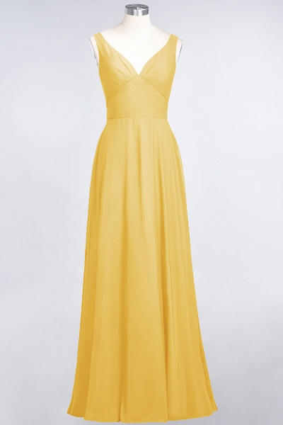 A-Line Chiffon V-Neck Straps Sleeveless Ruffles Floor-Length Bridesmaid Dress with Open Back_16
