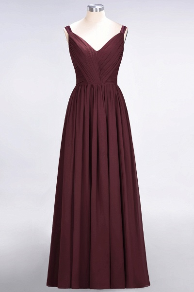 A-Line Chiffon Straps V-Neck Sleeveless Backless Floor-Length Bridesmaid Dress with Ruffles_10