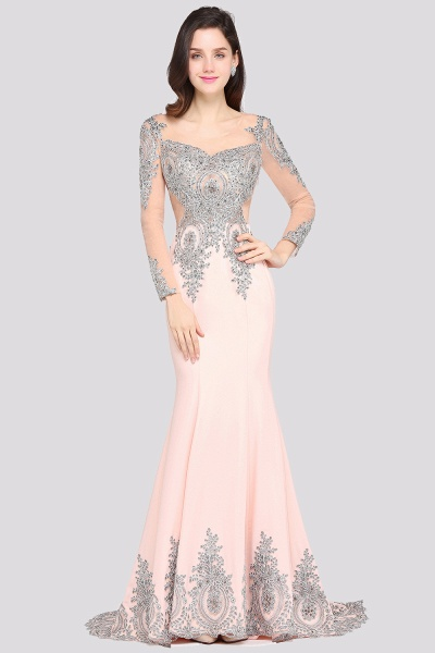 BM0129 Pink Mermaid Long Sleeves Appliques Beads Bridesmaid Dresses