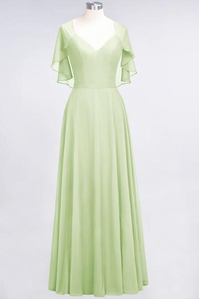 A-Line Chiffon Satin V-Neck short-sleeves Floor-Length Bridesmaid Dress_33