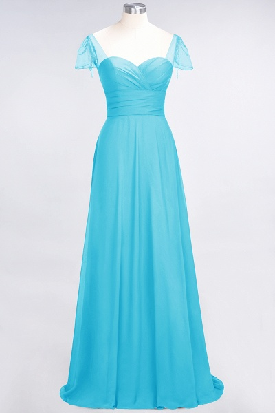 A-Line Chiffon Sweetheart Cap-Sleeves Ruffle Floor-Length Bridesmaid Dress with Beadings_23