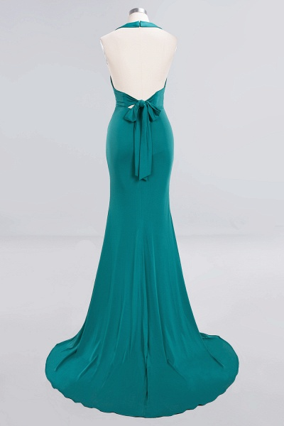 BM0670 Elegant Mermaid Halter Pool V-neck Bridesmaid Dress_40