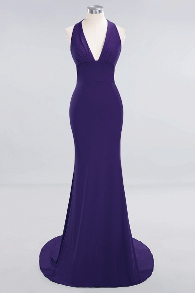 BM0670 Elegant Mermaid Halter Pool V-neck Bridesmaid Dress_17