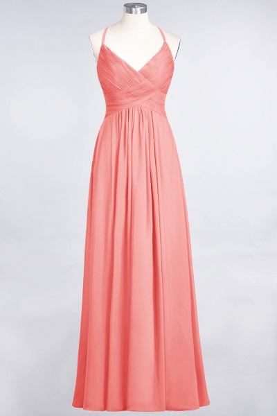 A-Line Chiffon Spaghetti-Straps V-Neck Sleeveless Floor-Length Bridesmaid Dress with Ruffles_7