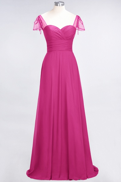A-Line Chiffon Sweetheart Cap-Sleeves Ruffle Floor-Length Bridesmaid Dress with Beadings_9