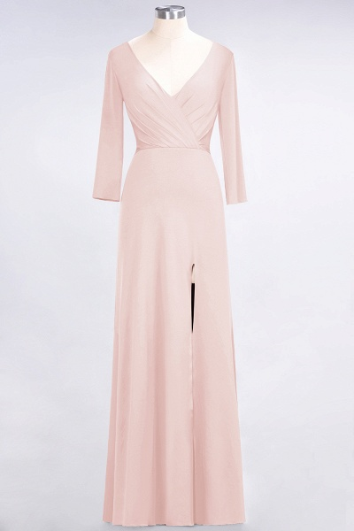 A-Line Spandex V-Neck Long-Sleeves Side-Slit Floor-Length Bridesmaid Dress with Ruffles_5